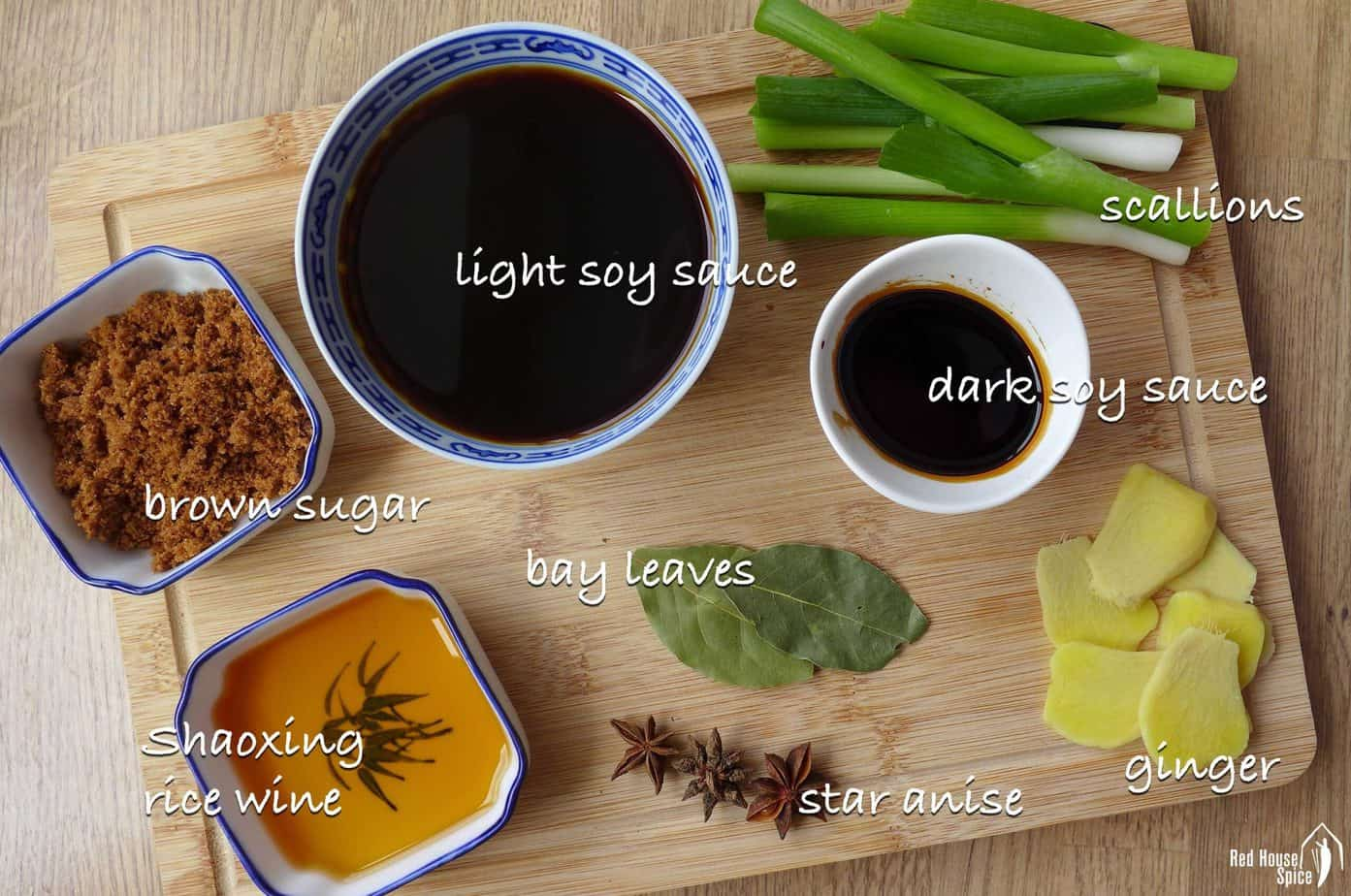 soy sauce, scallions, ginger, sugar and some spices