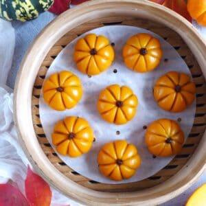 pumpkin mochi cakes in a steamer