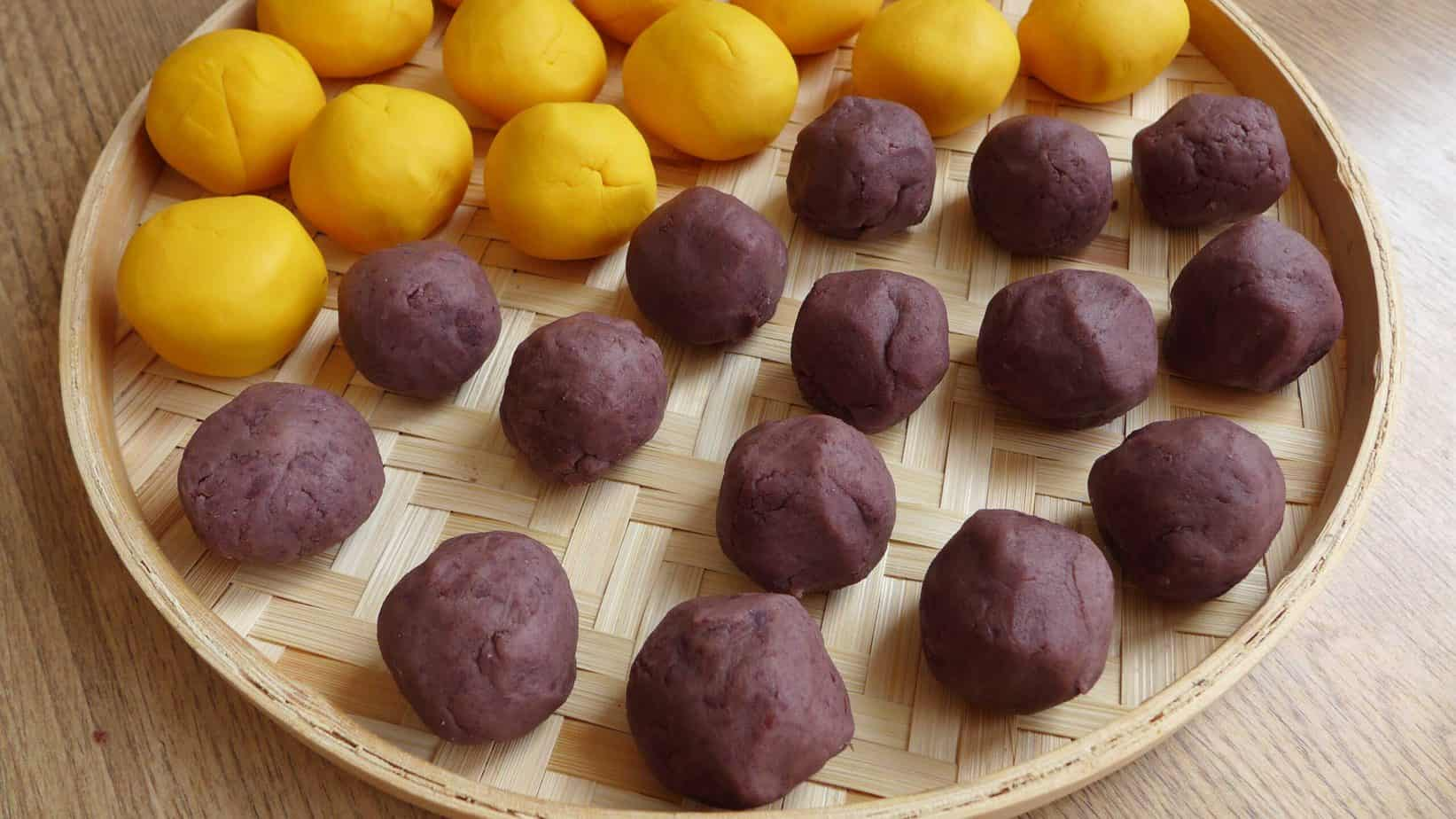 Red bean paste rolled into balls