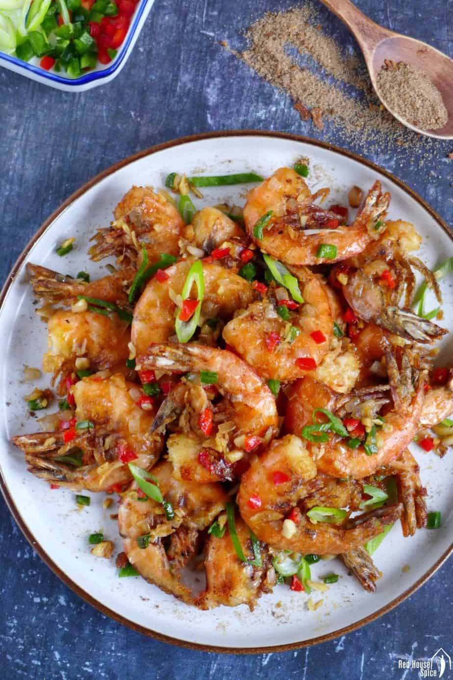Chinese salt and pepper shrimp in a plate