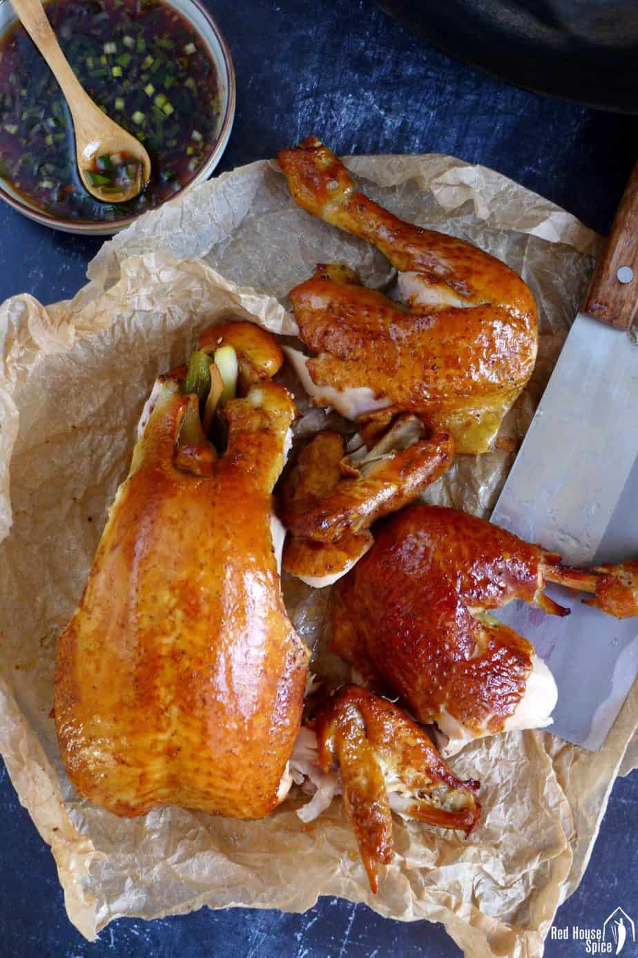 Chinese smoked chicken torn into a few pieces