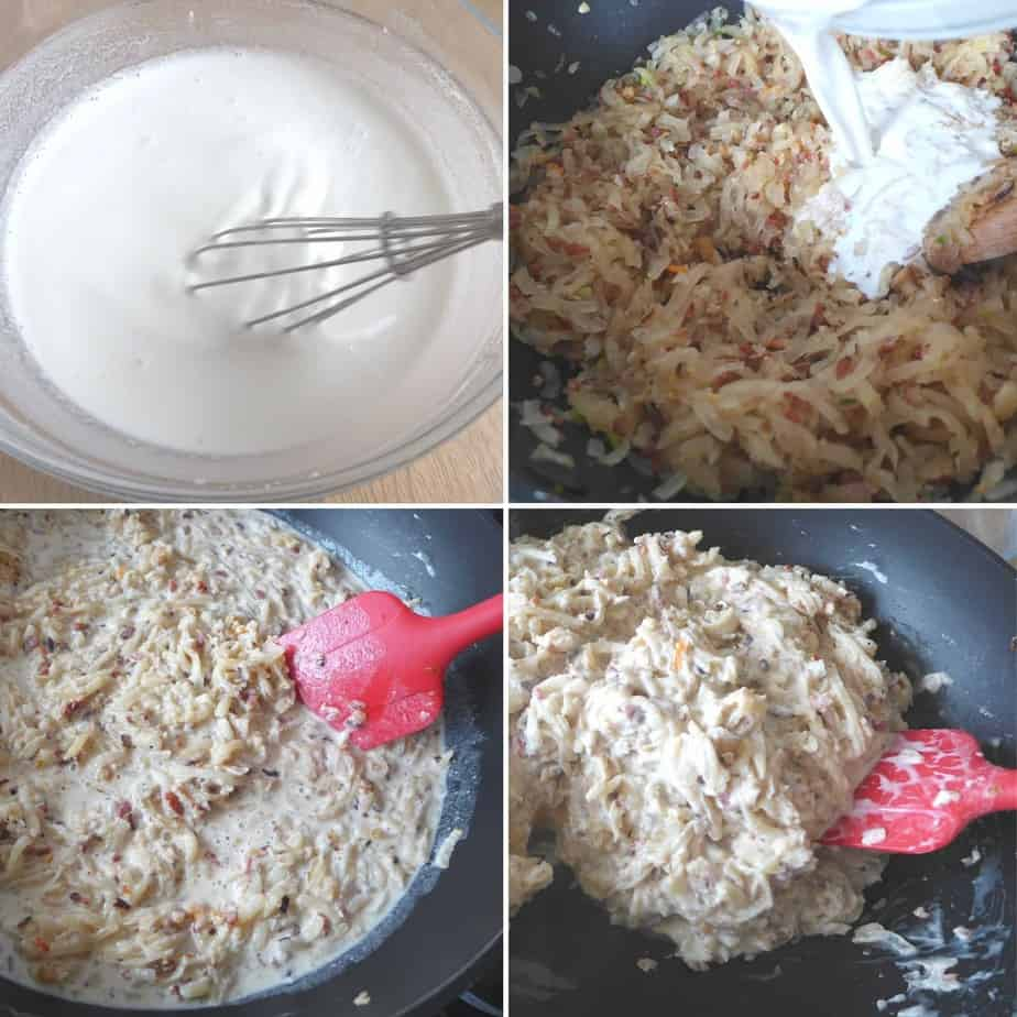 adding rice flour slurry to shredded daikon radish