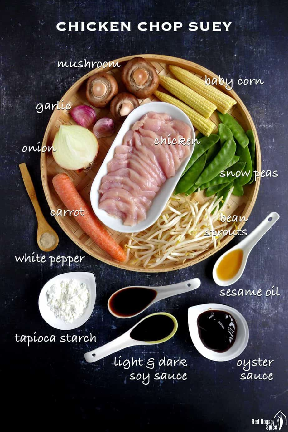 Ingredients for cooking chicken chop suey