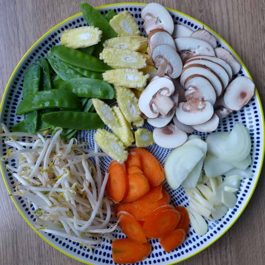 A variety of chopped vegetables
