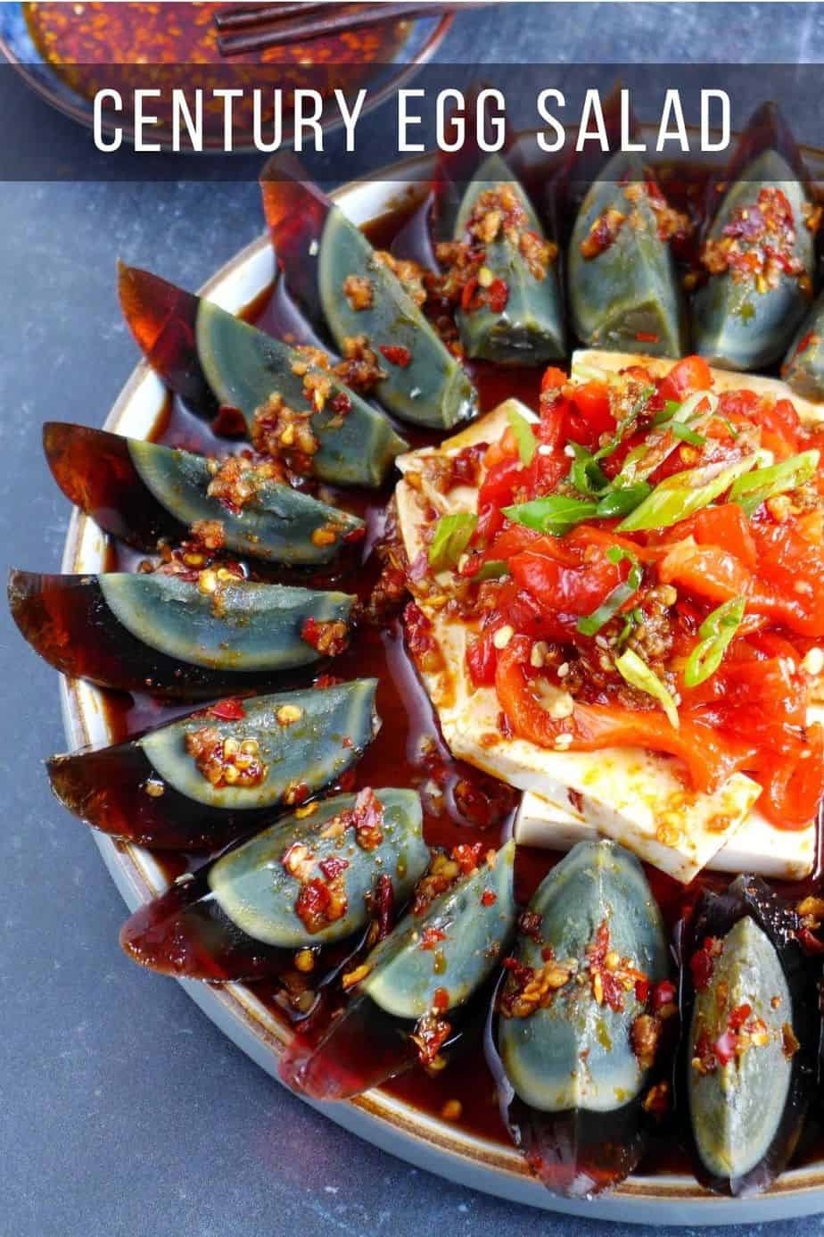 A plate of century egg and tofu salad