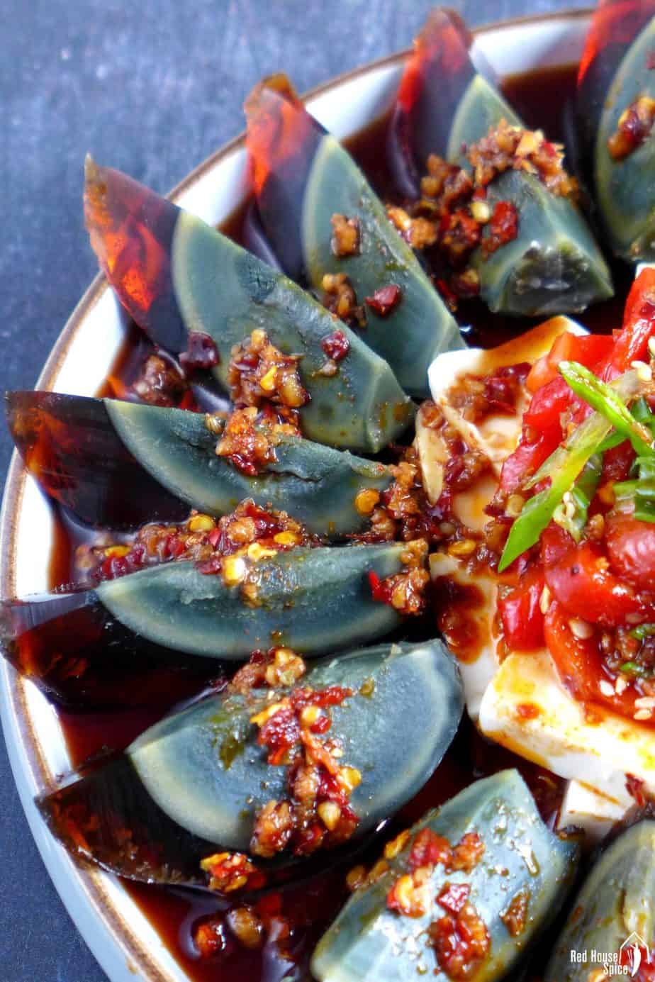 Century egg wedges with spicy dressing