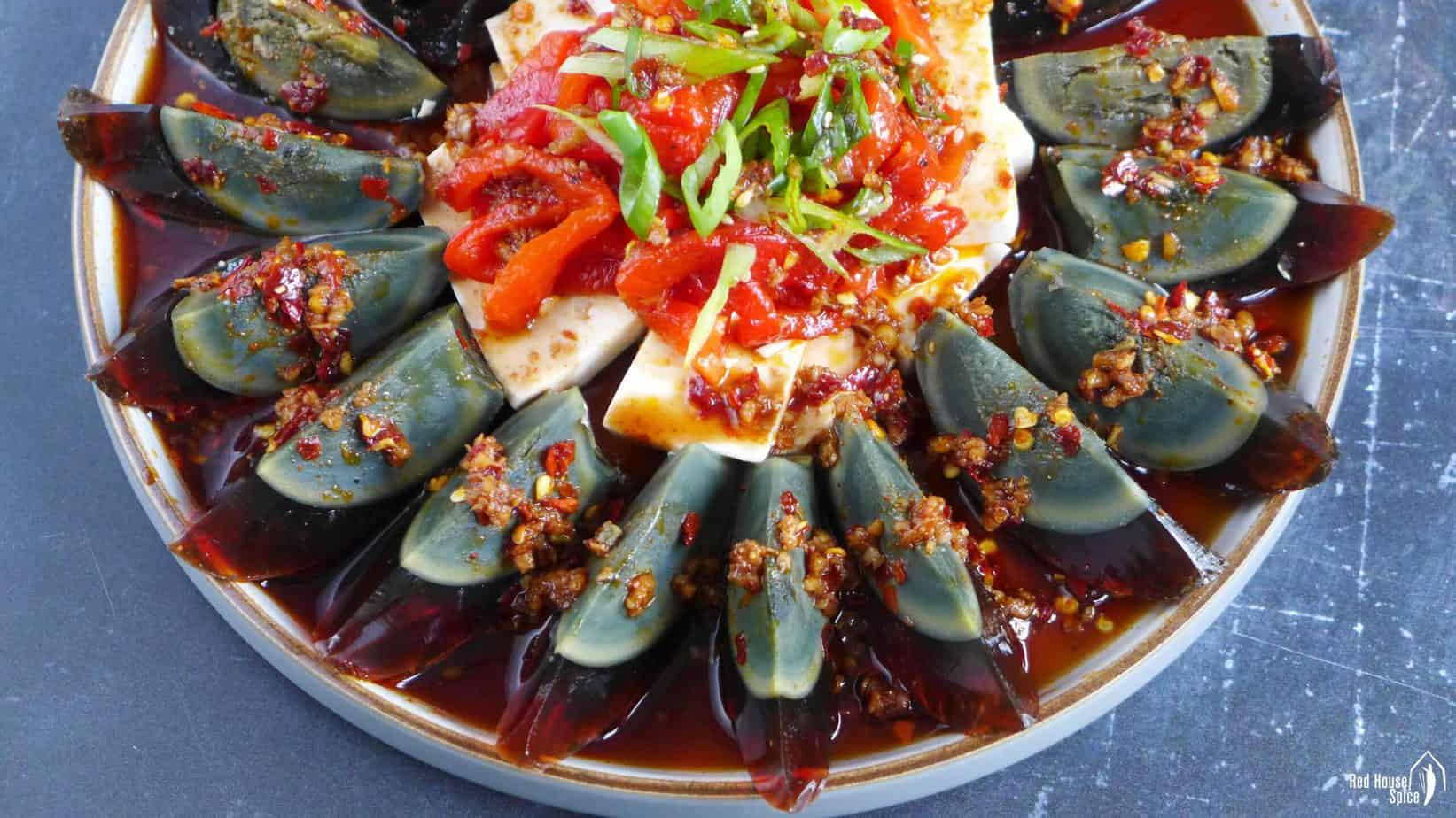 Century egg salad with tofu and roasted pepper.