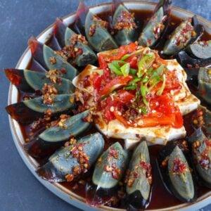 Chinese century egg and tofu salad