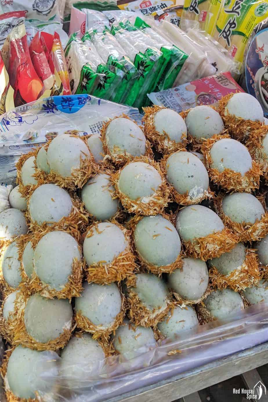 Century eggs sold in a market.