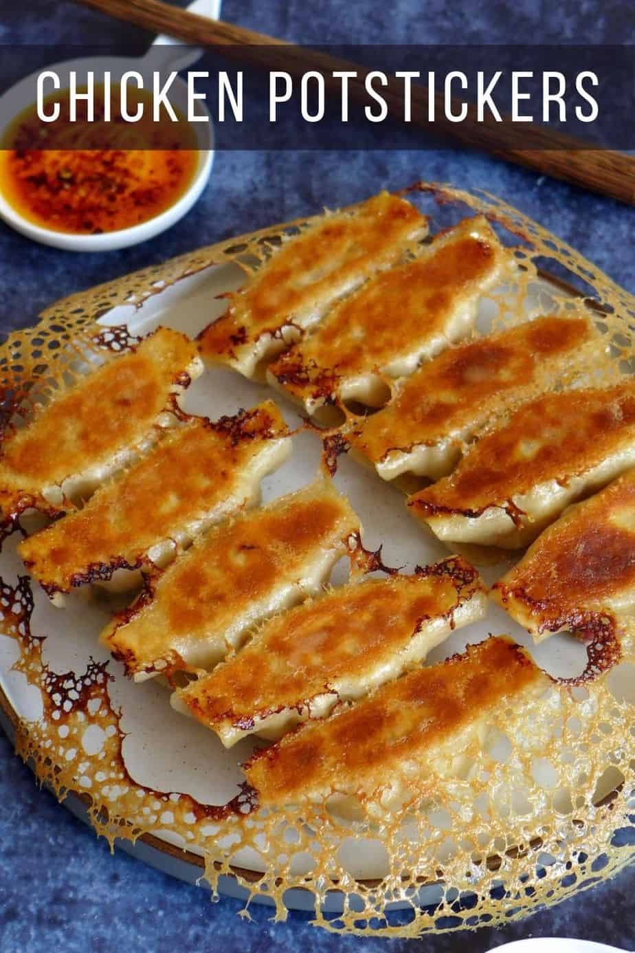 pan-fried potstickers with golden crust