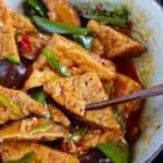 Chinese braised tofu with pepper and mushroom