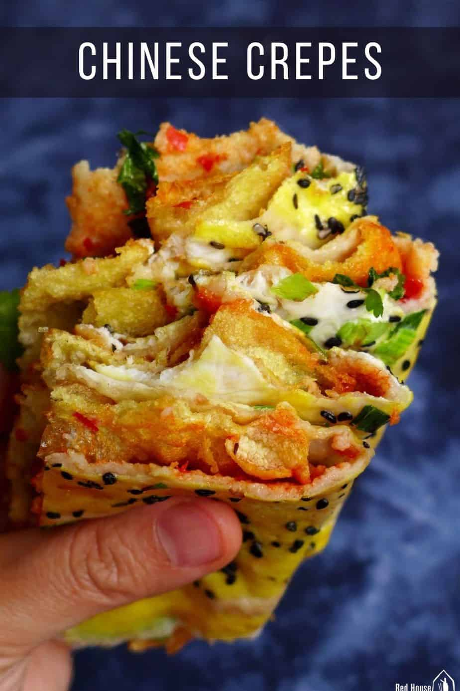 Chinese crepe held by a hand