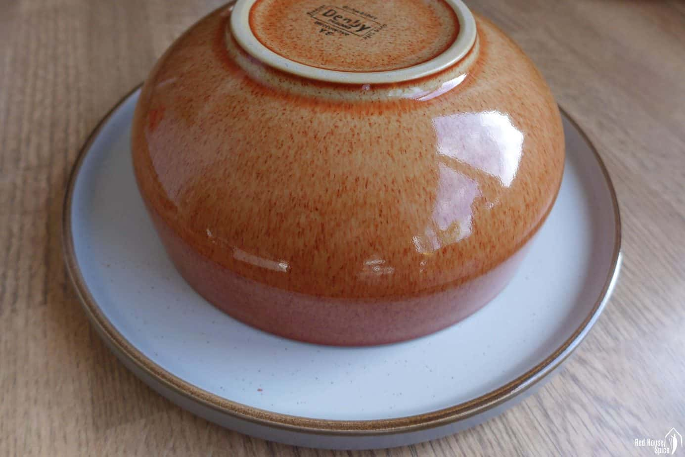 A bowl over a plate