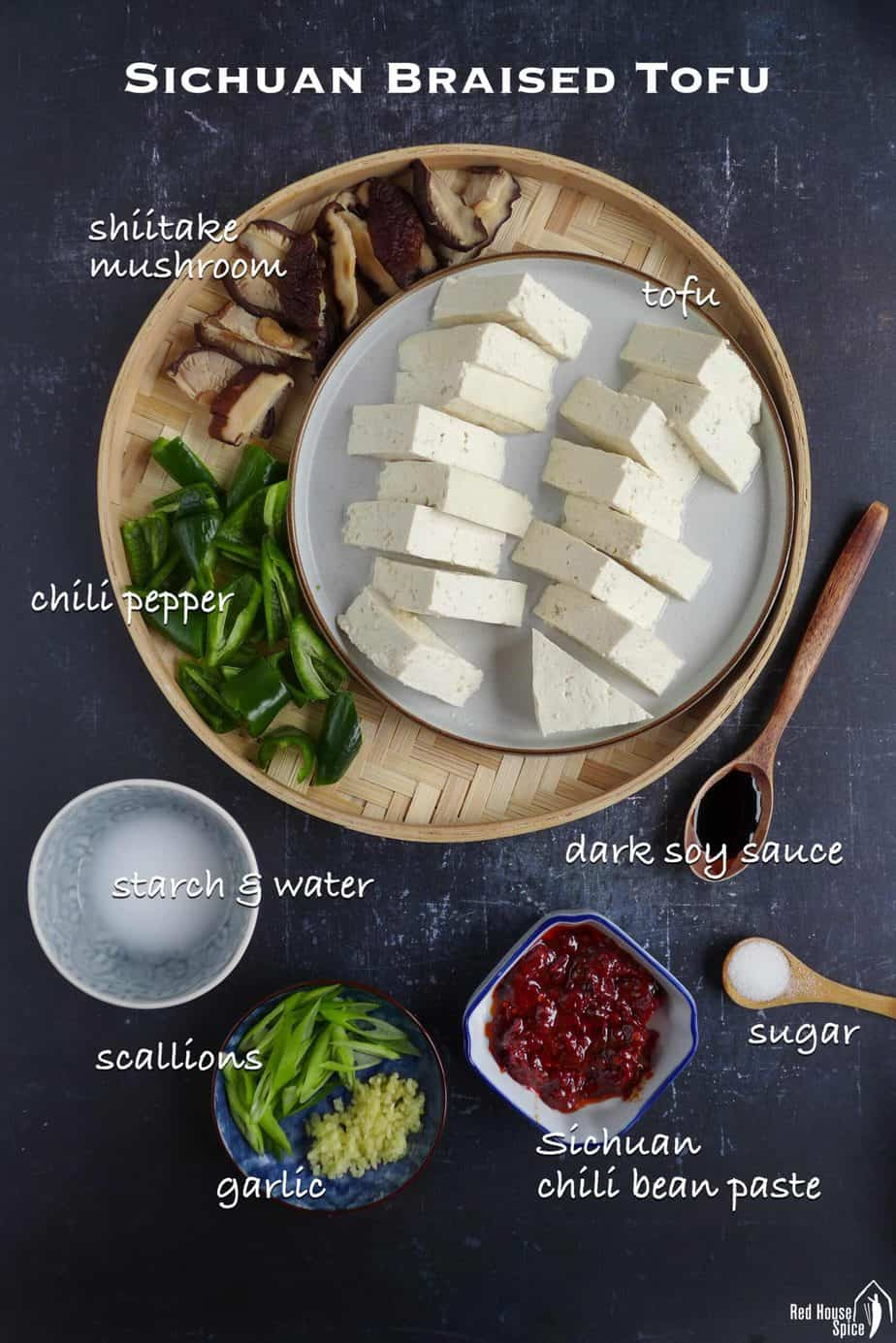 Ingredients for making Sichuan braised tofu