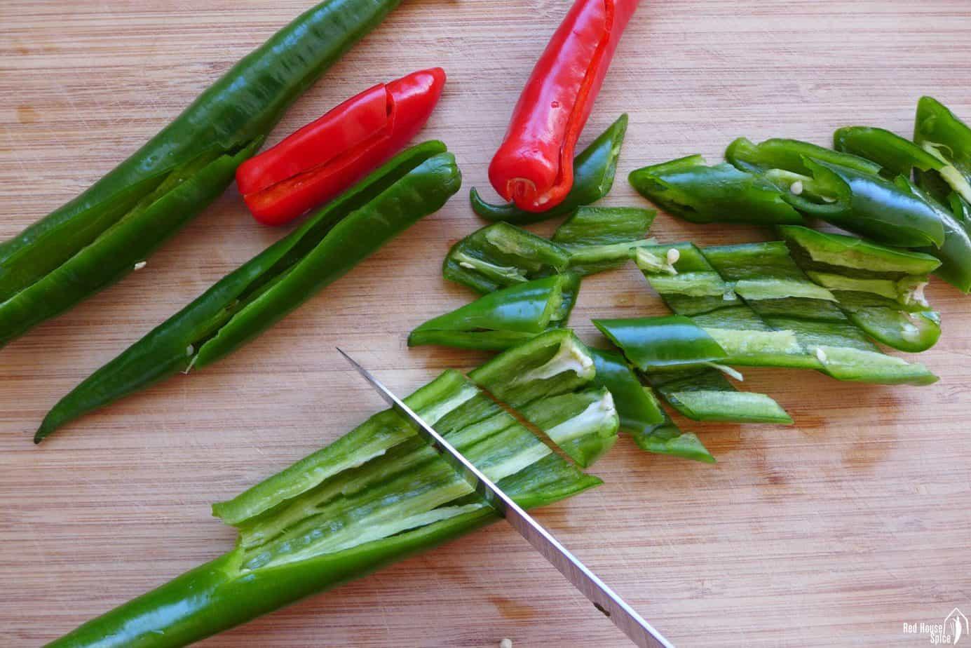 cutting chili pepper