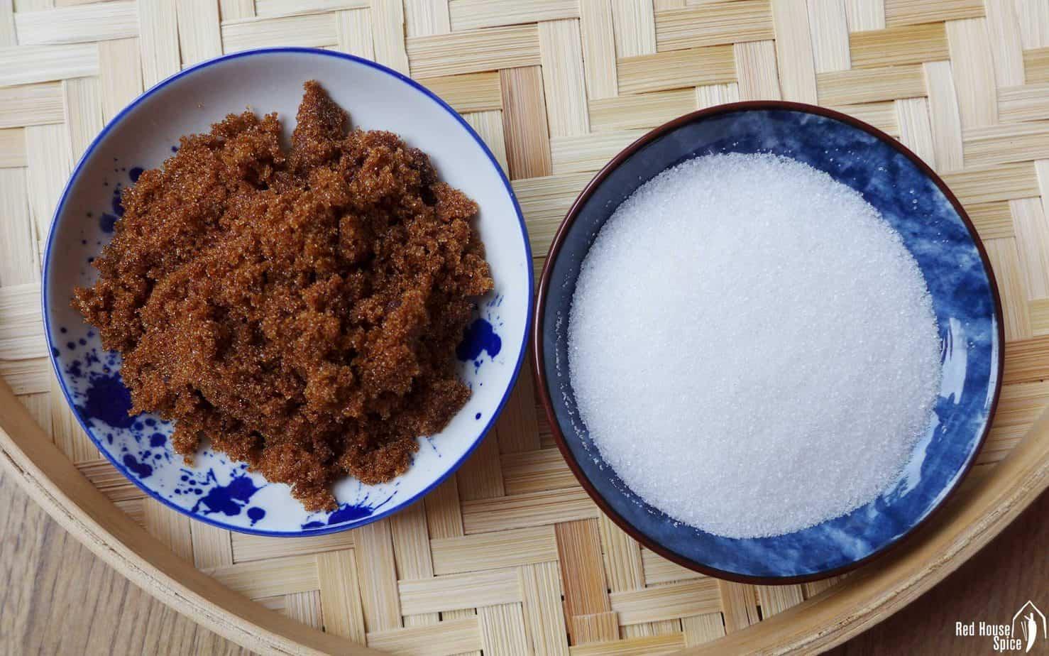 White sugar and dark brown sugar