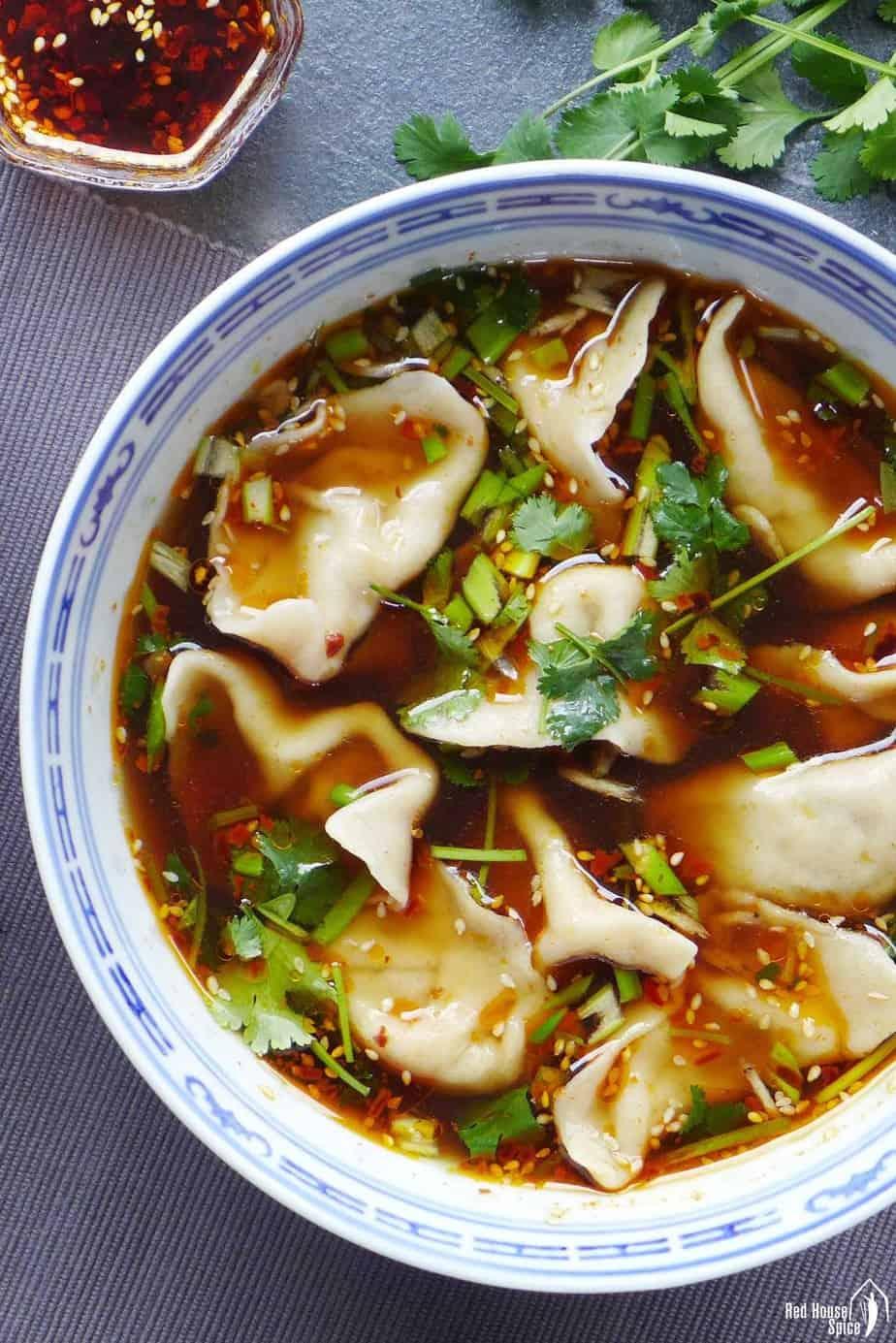Beef dumplings in hot & sour soup