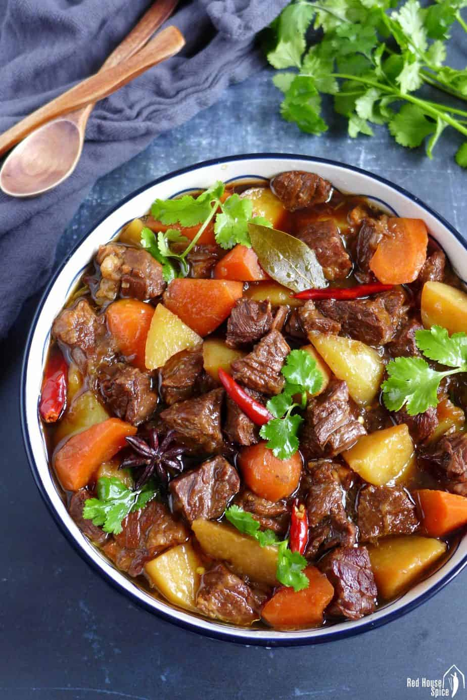 Chinese beef stew with potatoes and carrot
