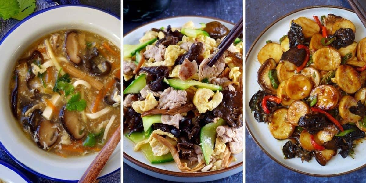 Three dishes using wood ear mushrooms