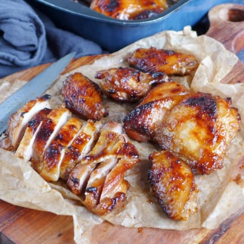 Char Siu chicken wings and sliced Char Siu chicken thighs
