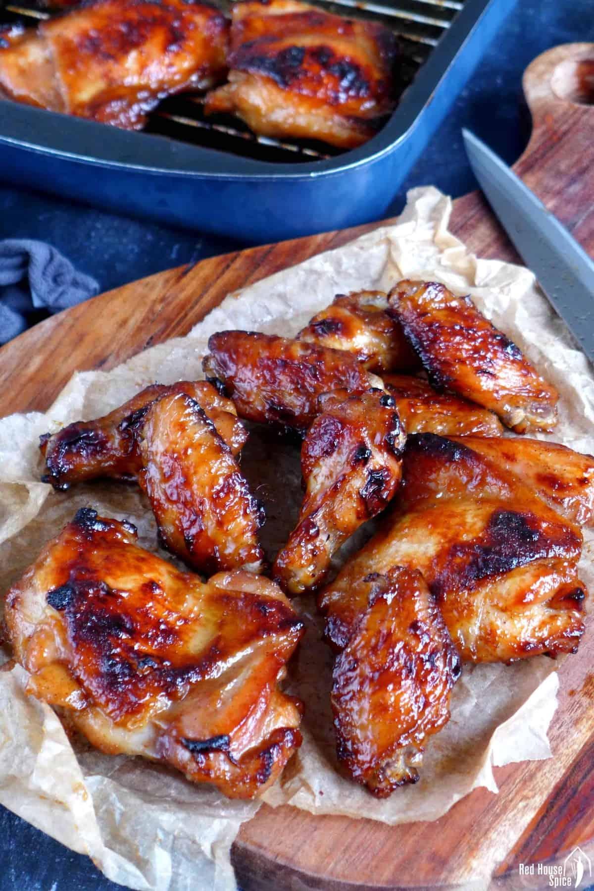 Char Siu chicken on a chopping board
