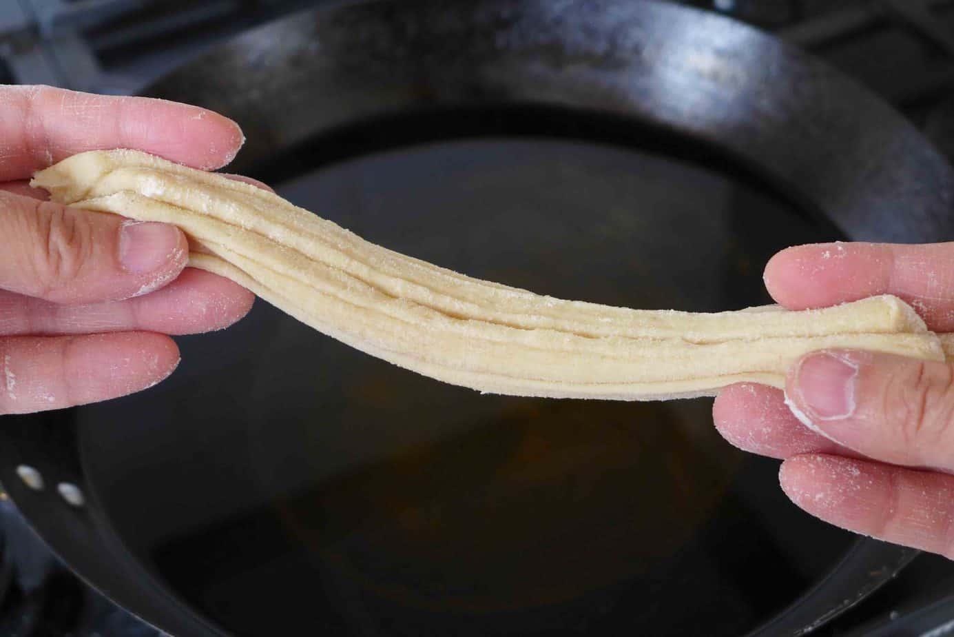 pulling dough