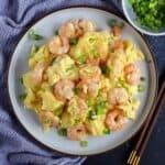 A plate of shrimp and egg stir-fry