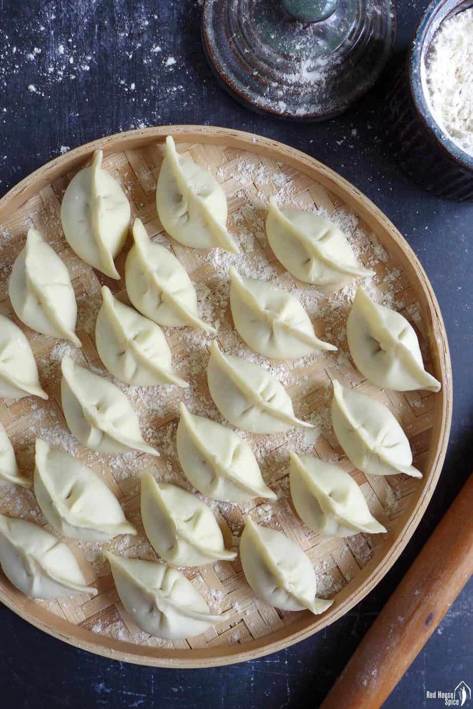 uncooked Chinese dumplings