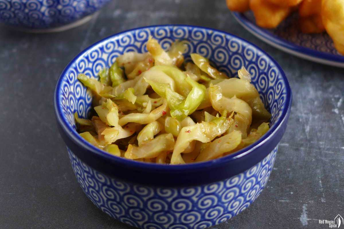 Chinese preserved vegetable in a bowl.