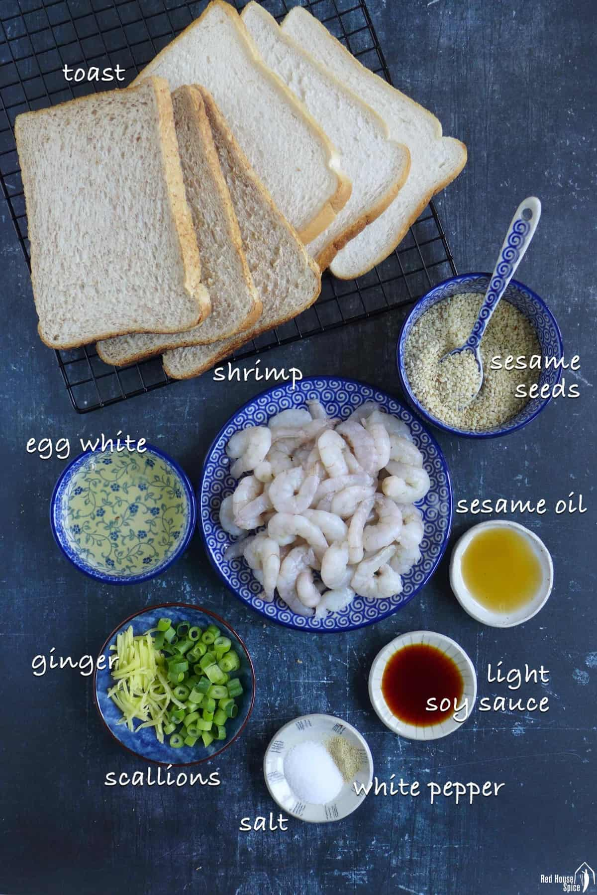all the ingredients for making shrimp toast