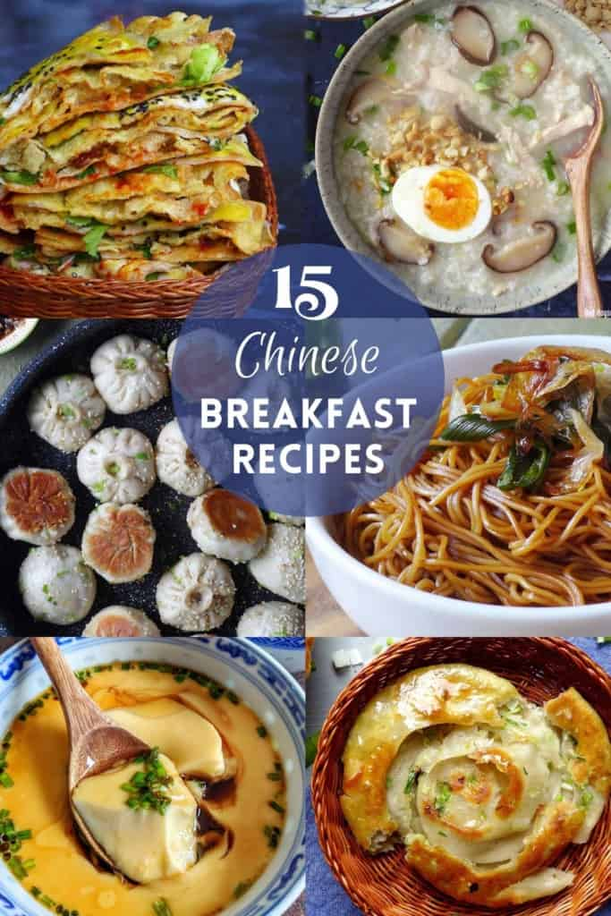A collage of six Chinese breakfast dishes with overlay text saying 15 Chinese breakfast recipes.