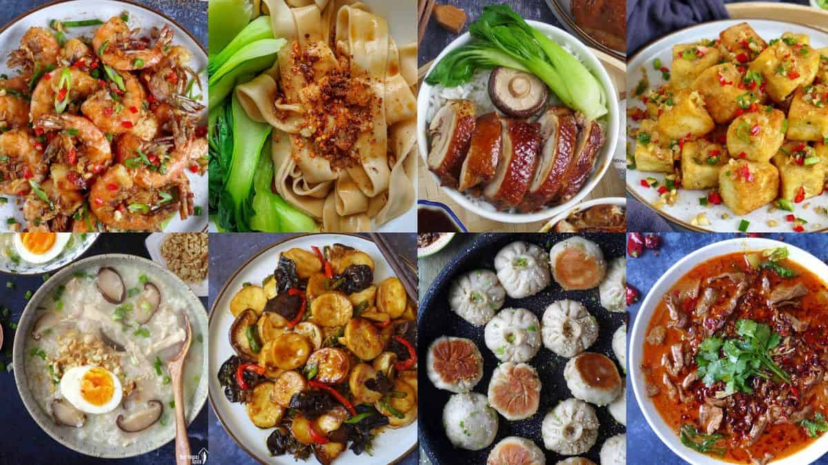 A collage of eight Chinese dishes