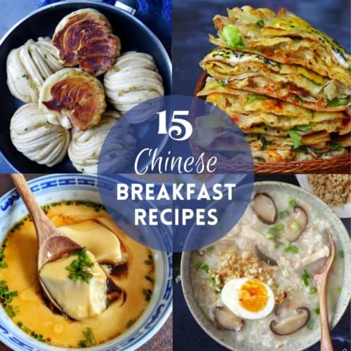 a collage of 4 Chinese breakfast dishes with overlay text saying 15 Chinese breakfast recipes