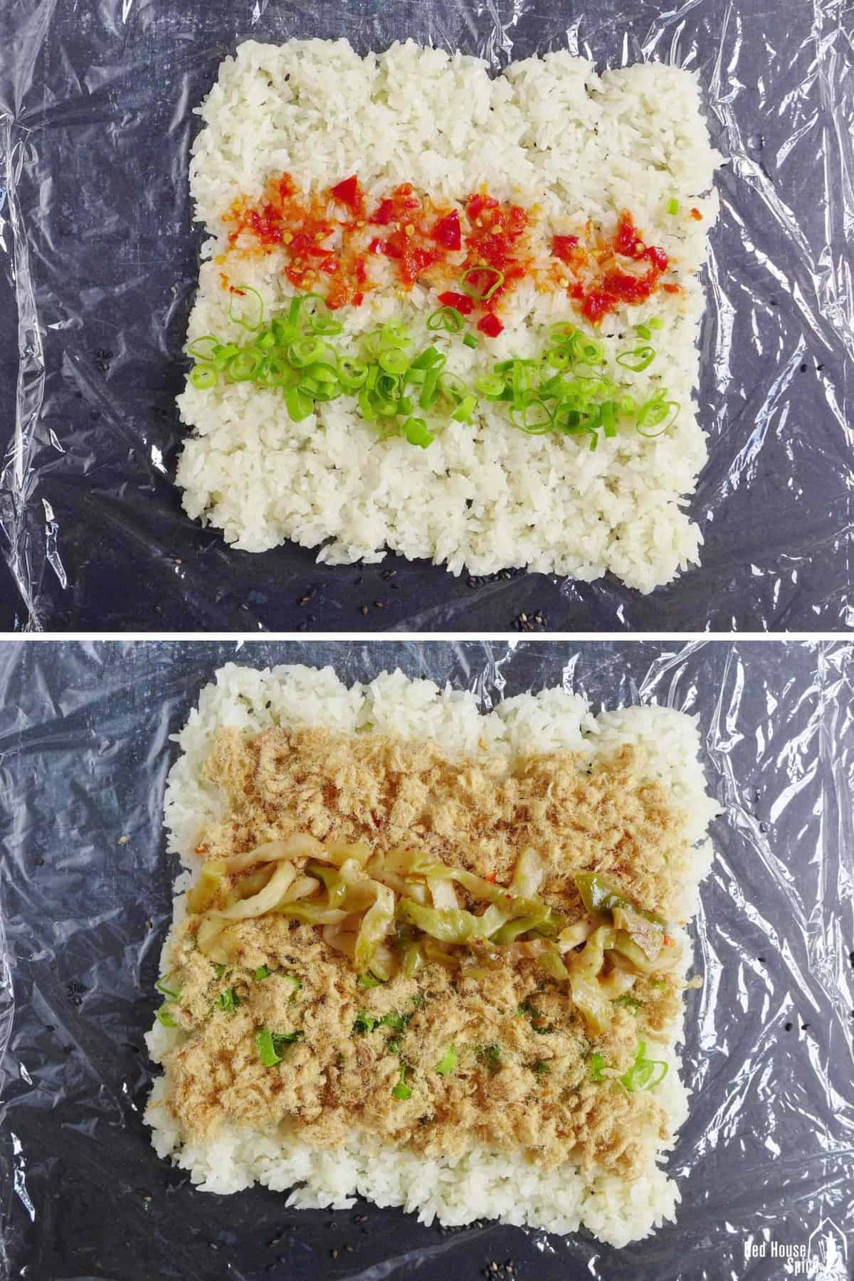 A collage of two images. One shows chili sauce and scallion over rice. The other shows pork floss and preserved vegetable over rice.
