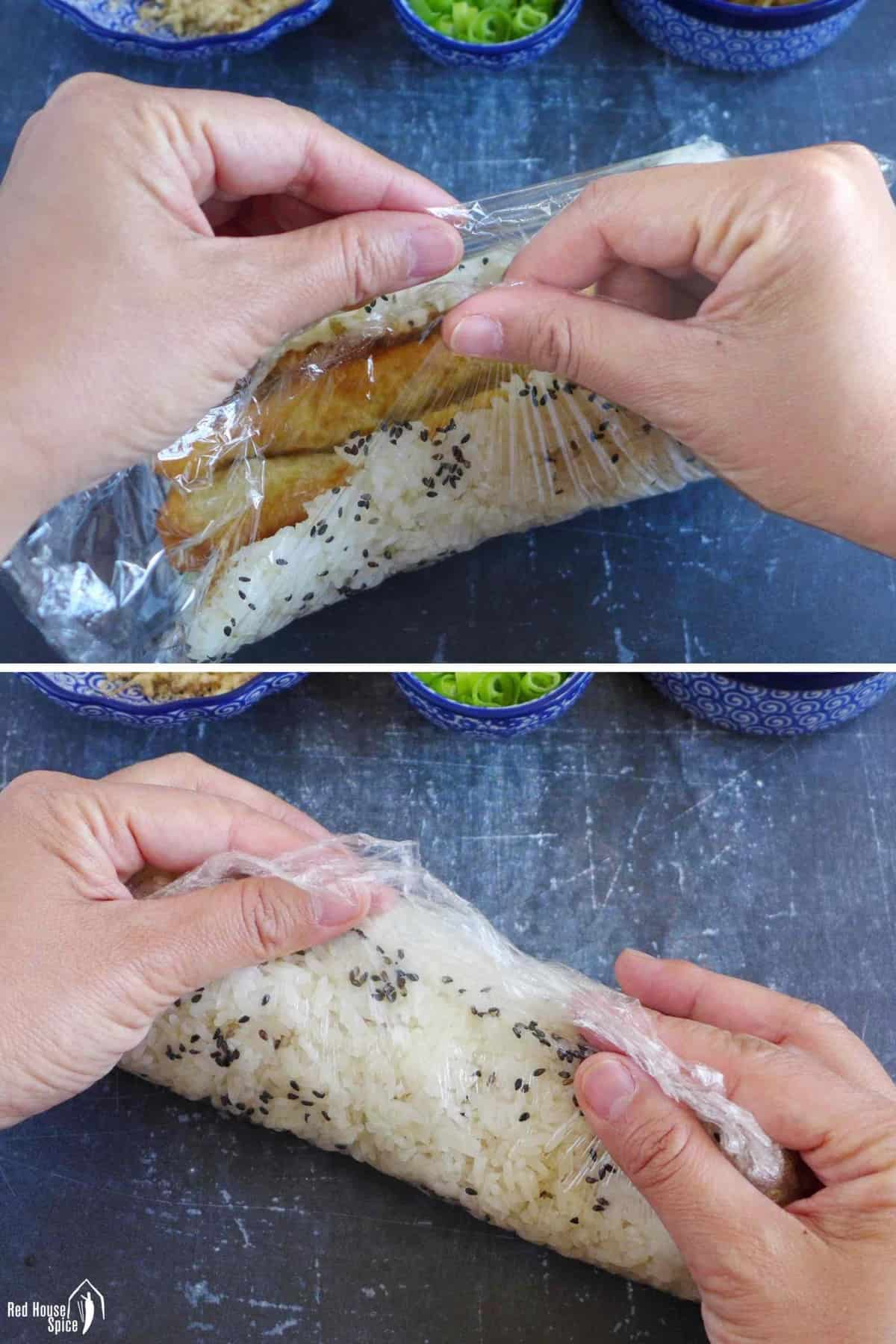 wrapping rice with cling film into a roll