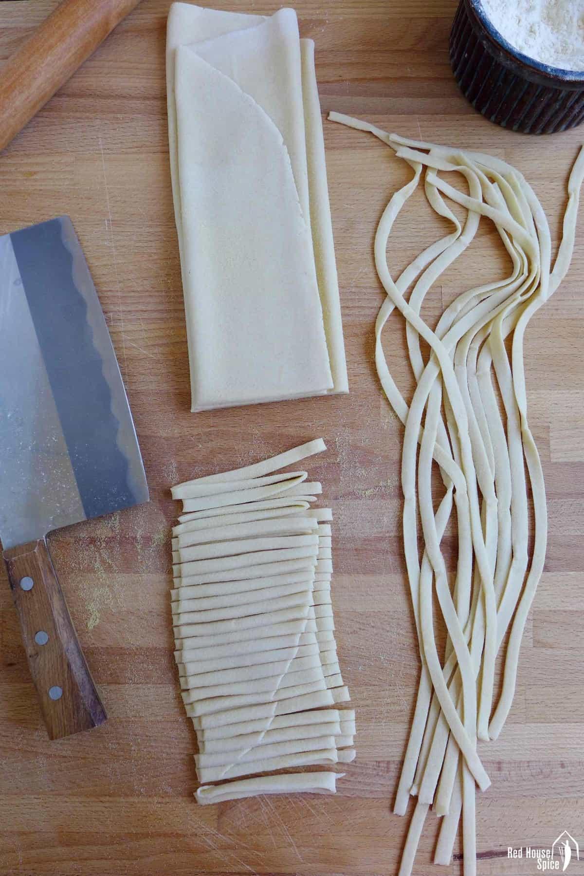 dough sheet and knife cut noodles