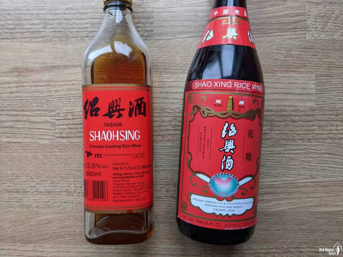 two bottles of Shaoxing rice wine