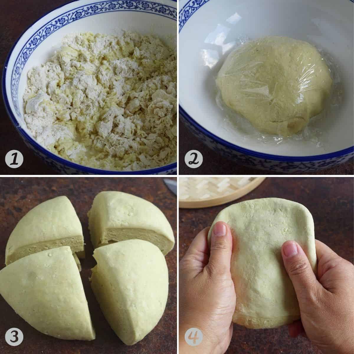 four steps of making dough for alkaline noodles