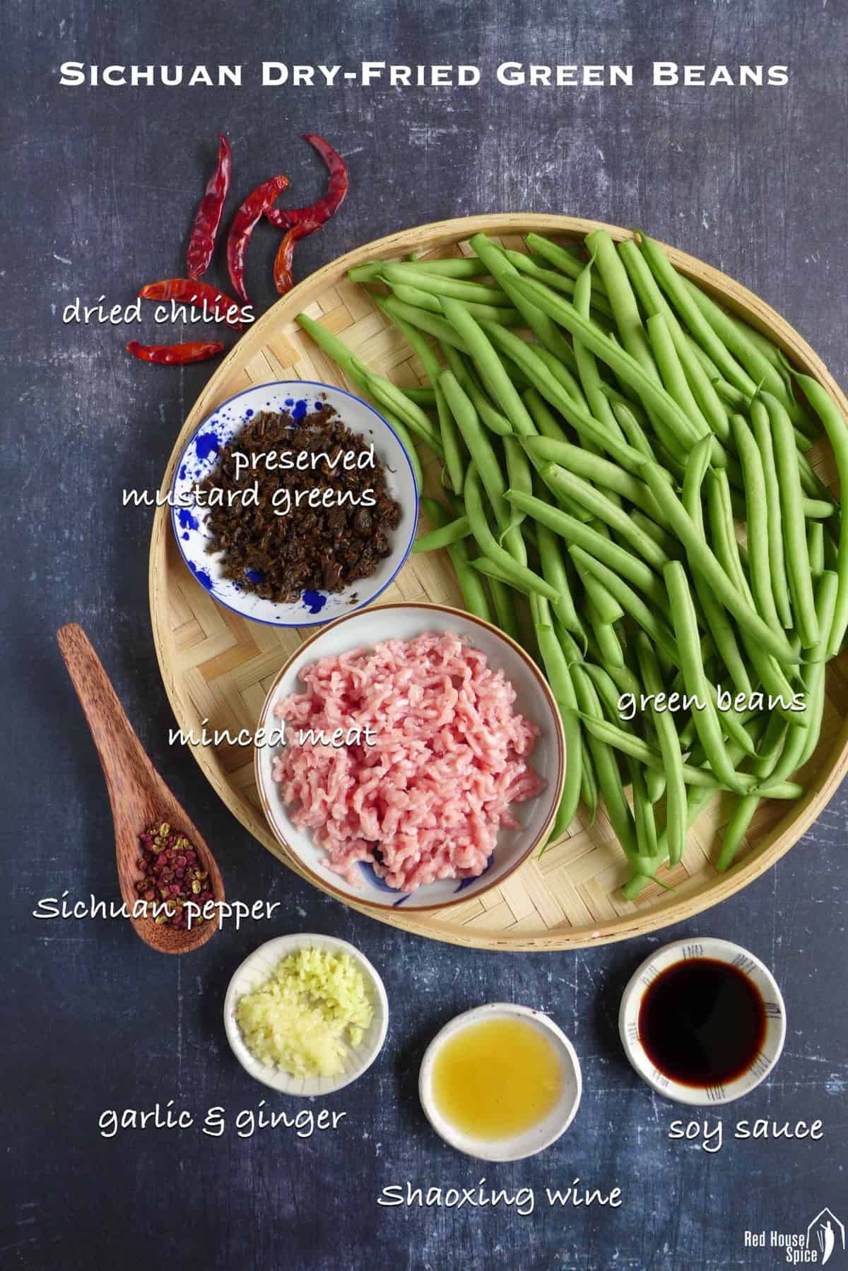 raw ingredients for cooking Sichuan dry fried green beans.