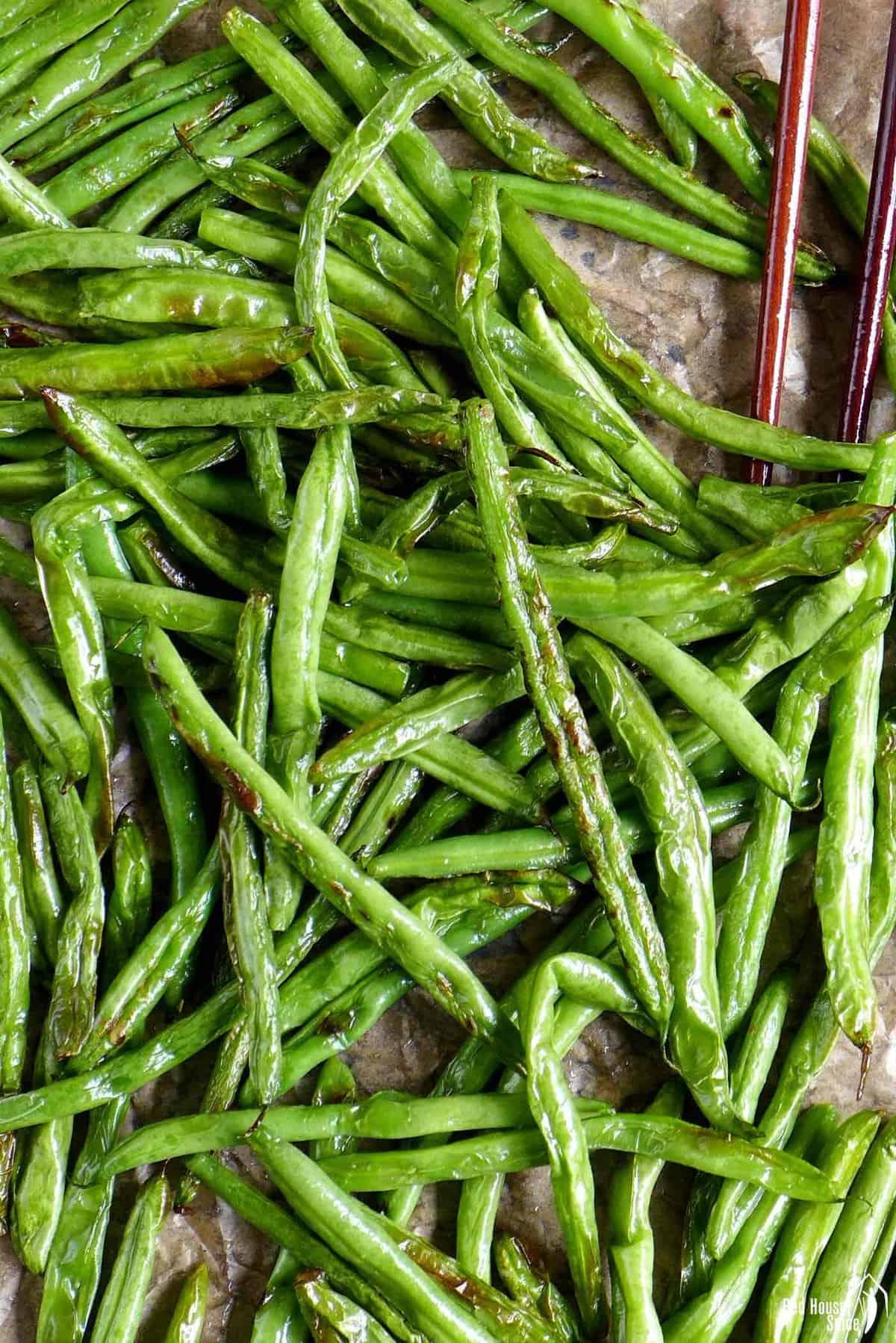 Charred, blistered green beans