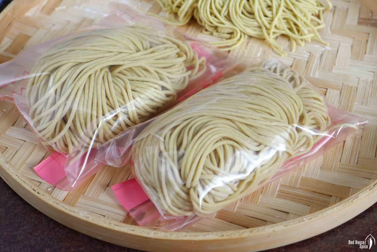 fresh noodles in plastic bags