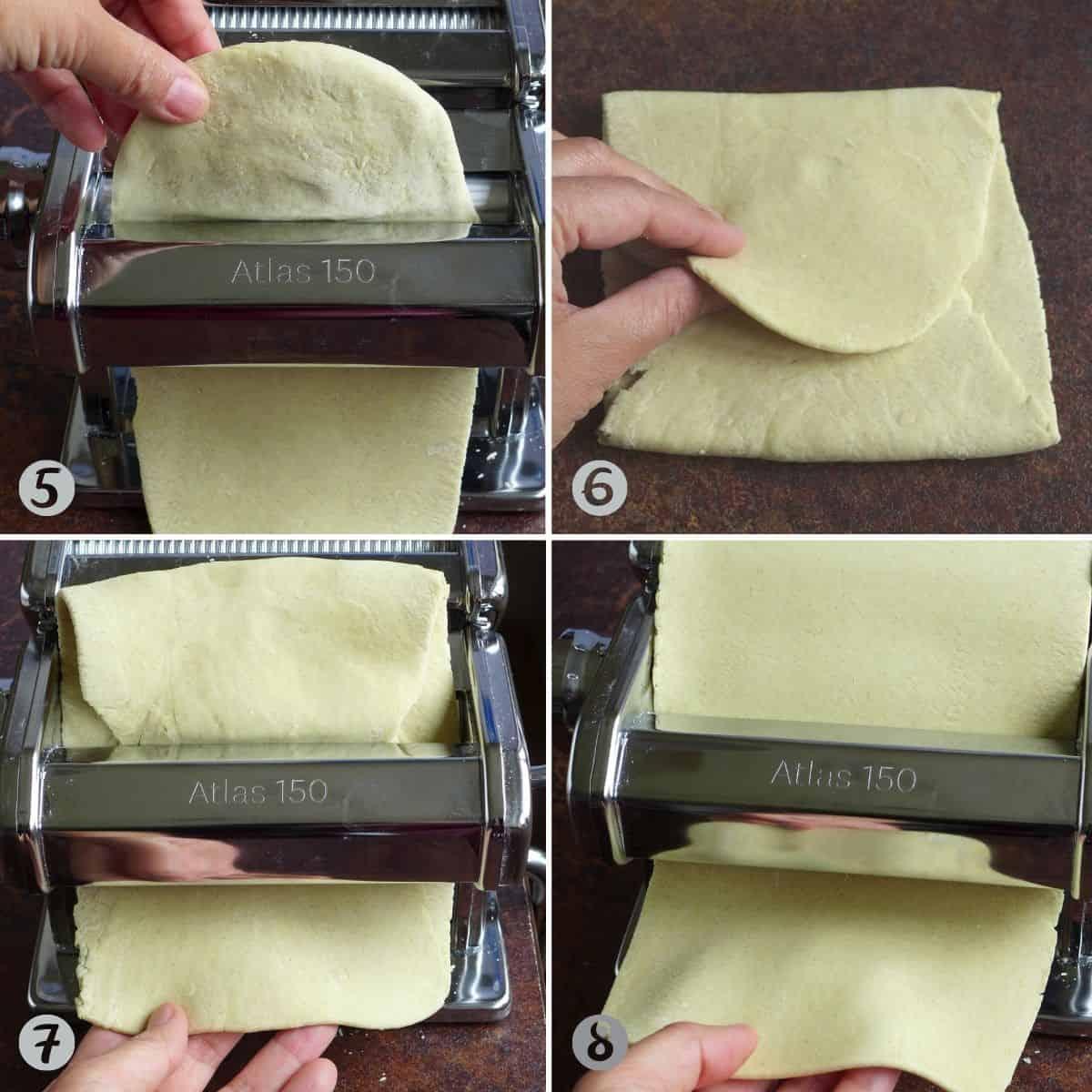 passing dough though a pasta roller