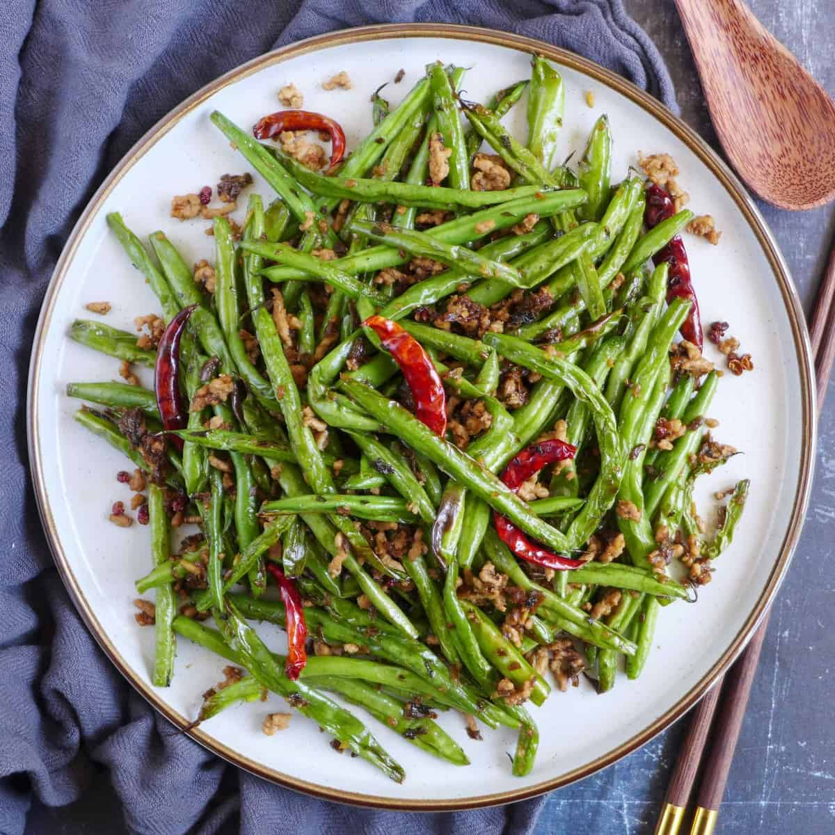 A plate of dry fried green beans