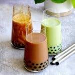 Three glasses of bubble tea: classic, brown sugar and matcha
