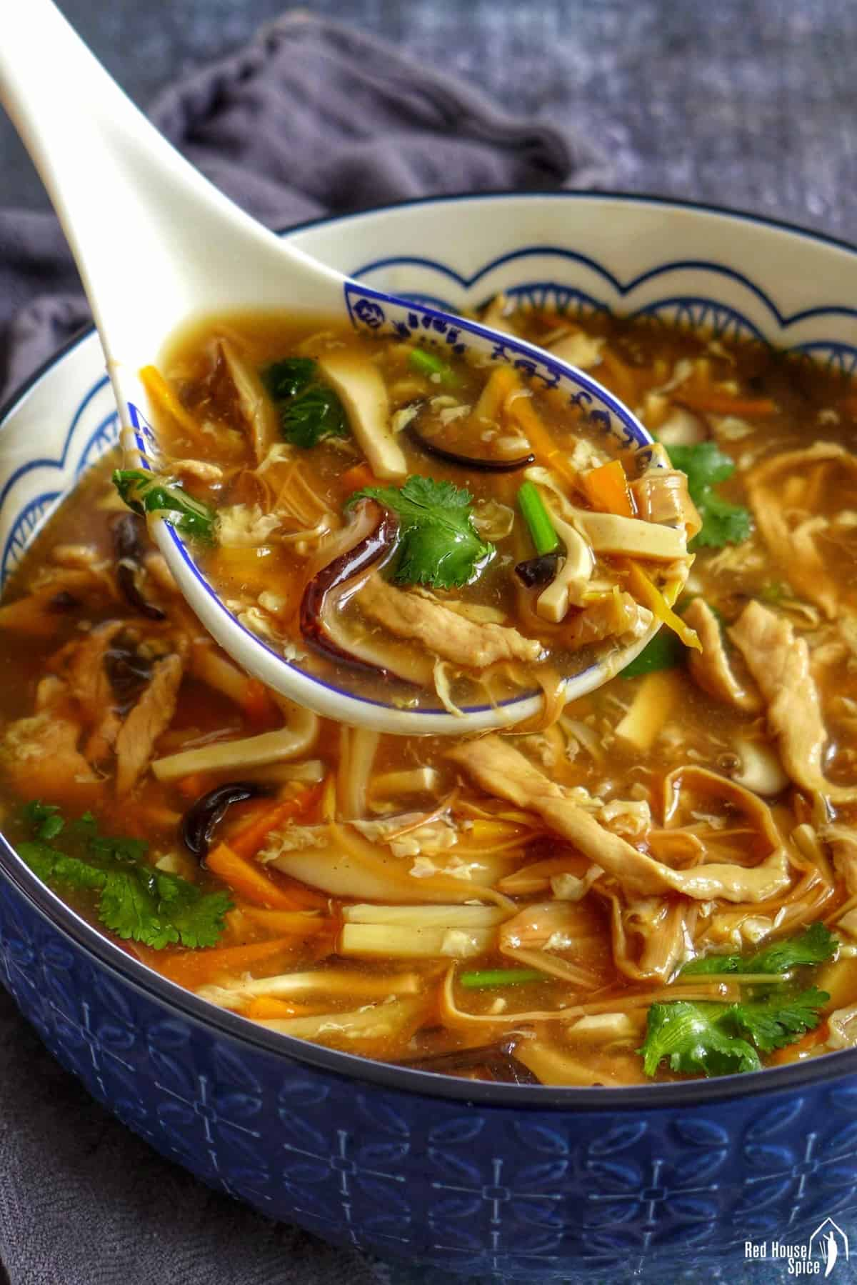 hot sour soup spooned out of a bowl