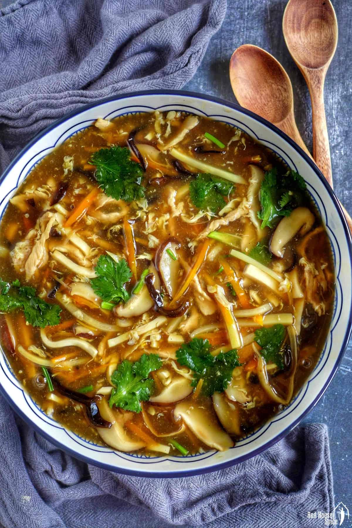 hot and sour soup in a large bowl
