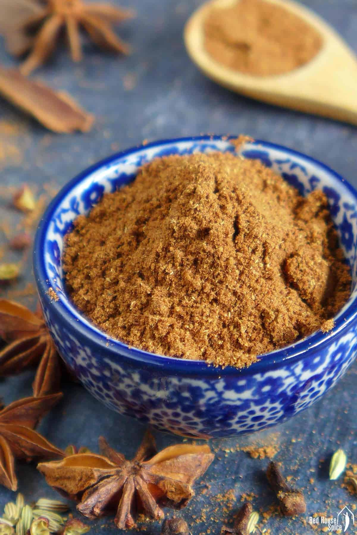 Homemade Chinese five spice powder in a bowl.