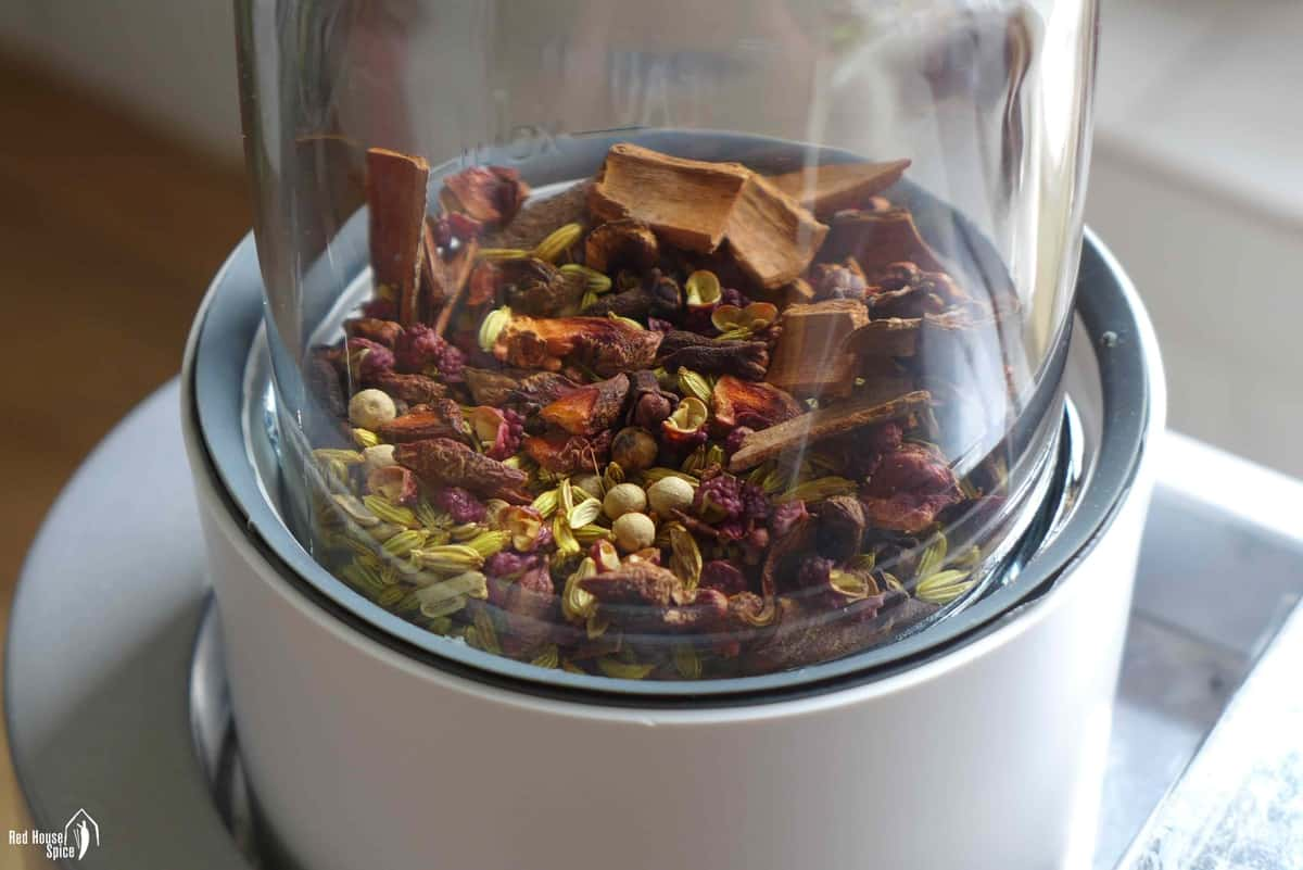 spices in a grinder