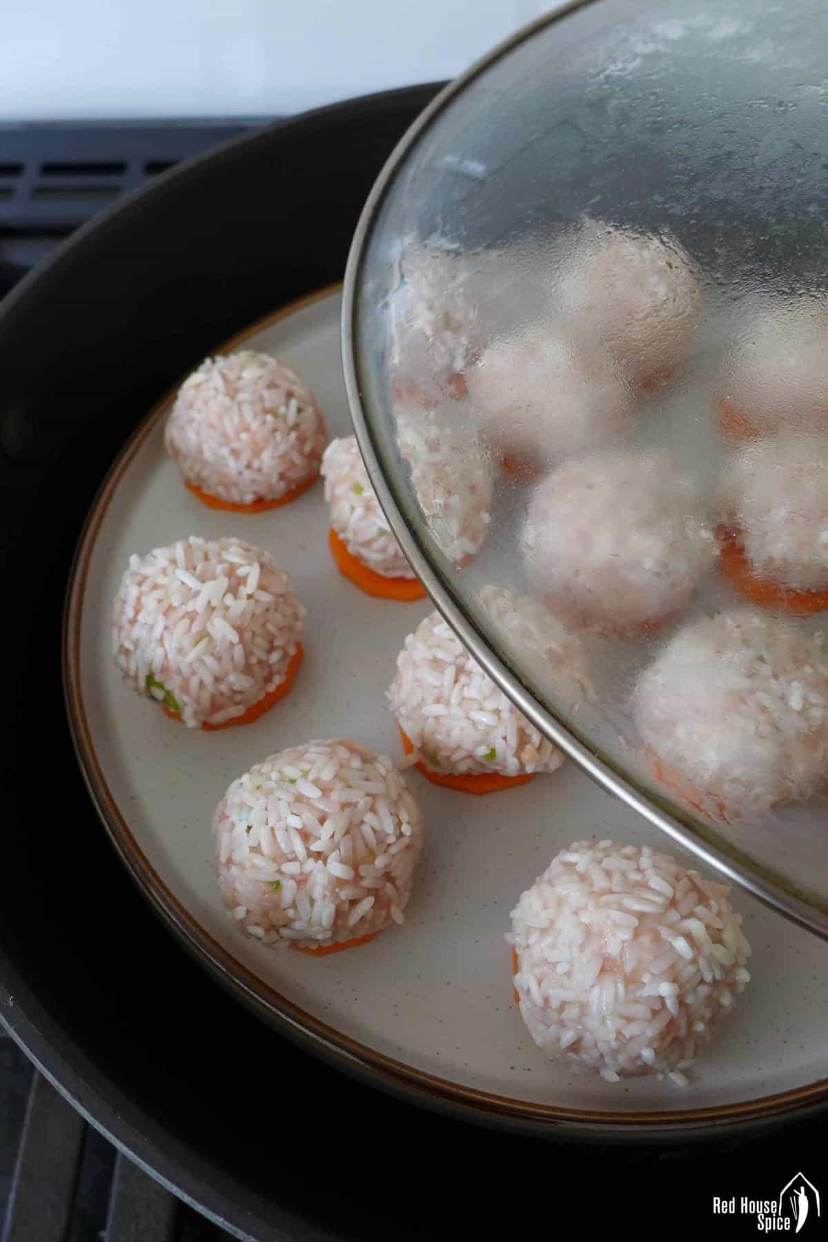 meatballs in a steamer
