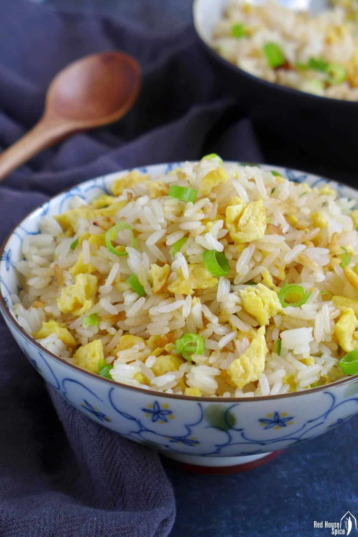 A bowl of Chinese egg fried rice.